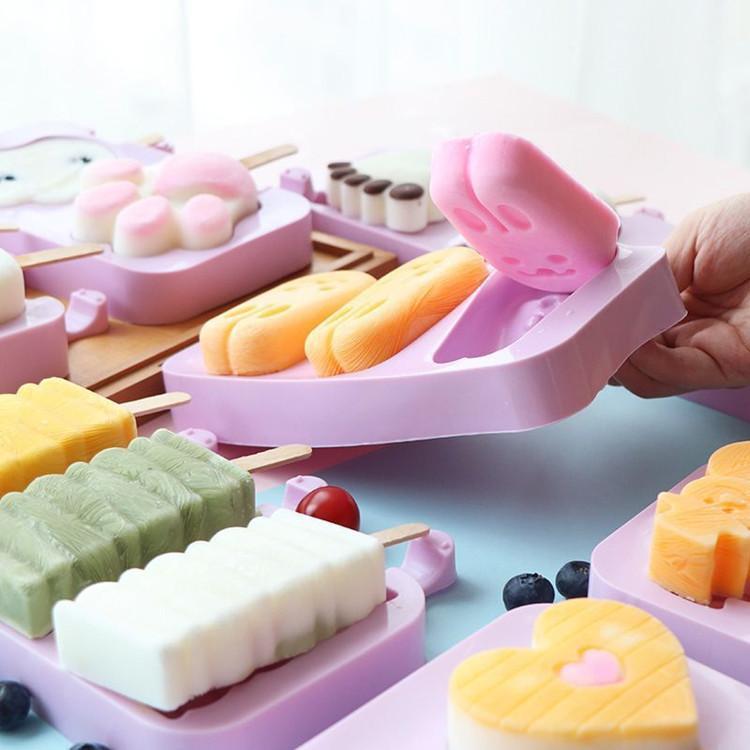 DIY Dondurma Silikon Kalıpları Çocuklar Hayvanlar Ev Yapımı Popsicle Kalıpları Çocuklar için Sevimli Karikatür Buz-Lolly Kalıp Dondurma Araçları YYS3864