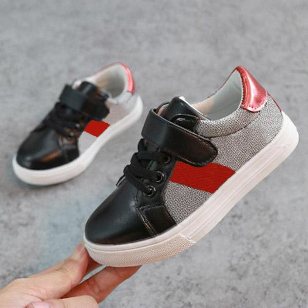 Kids Shoes New Arrival Fashion Letter Printed with Striped Sneakers Boys Girls Children Unisex Trendy Sport Style Casual Shoes