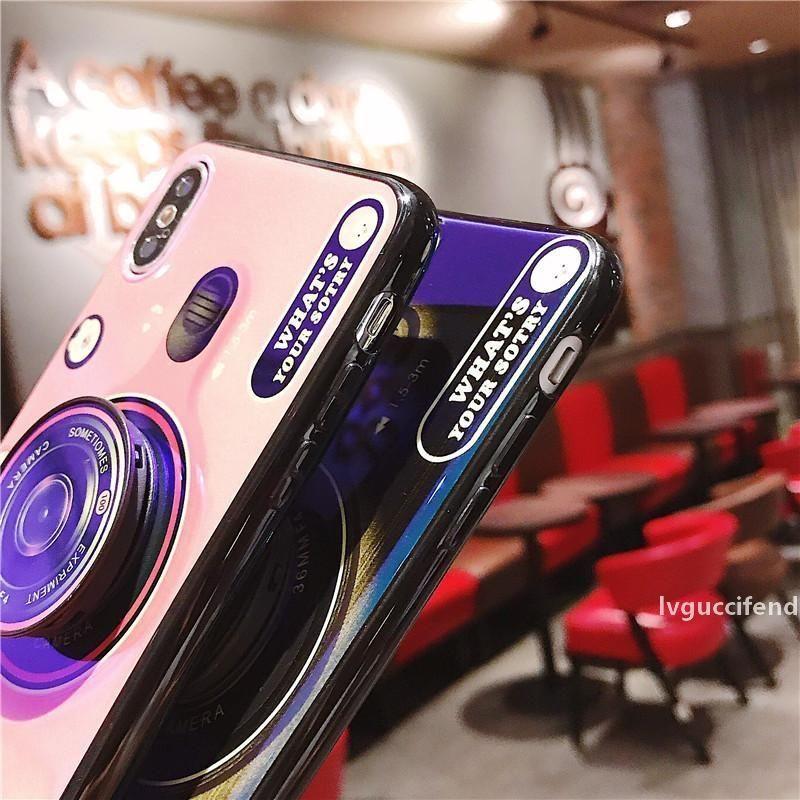 Heißer Verkauf Phonecase 3D Kamera Blue Ray telefonabdeckung für iphone xr xs max 6 6 s 7 8 Fälle mit Multifunktionsring