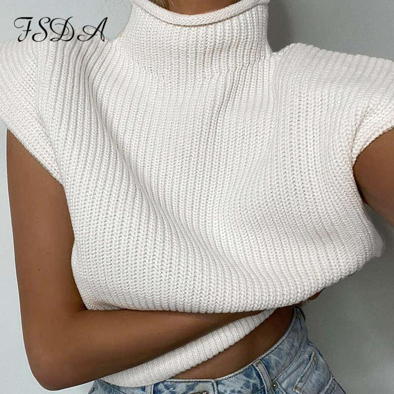 FSDA Turtleneck Sans gilet sans manches Sweater Femmes 2020 avec coussinets d'épaule Pull tricoté automne Hiver Jumper Haut Casual Tops Mode