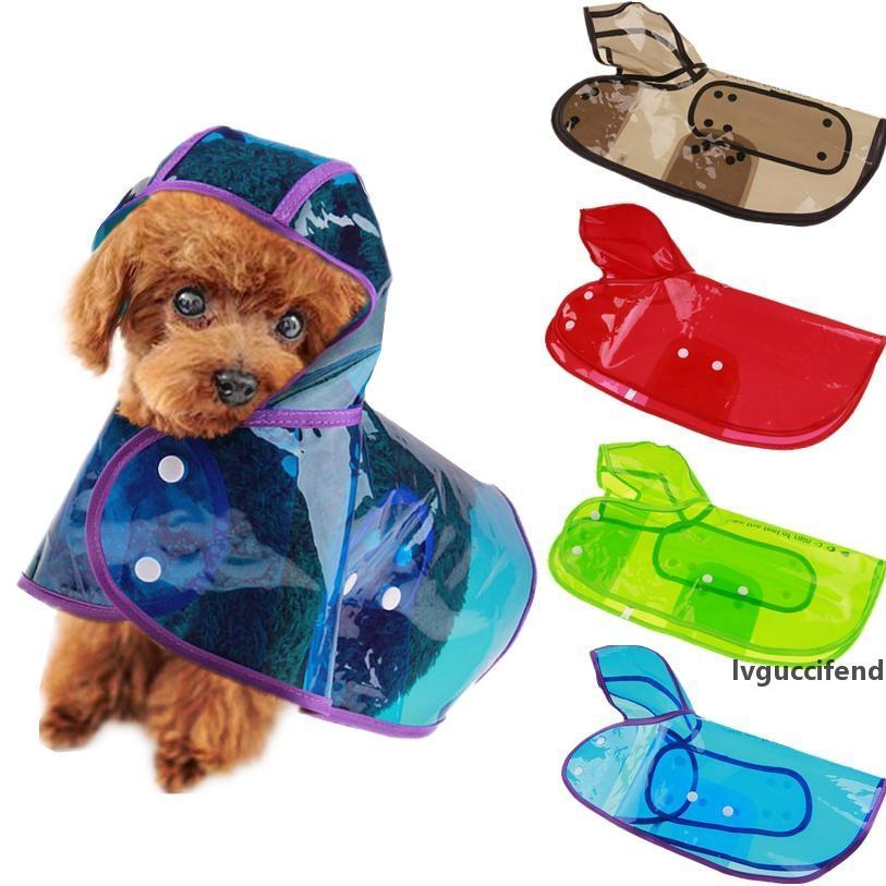 Candy Color Raincoat for Dogs Transparent Dog Raincoat Waterproof Hooded Cloak Summer Clothes for Dogs Dropshipping 40AT14 T200328