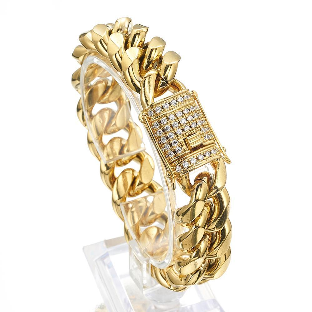 8mm-18mm Edelstahl Kubanische Miami-Ketten Armband CZ Zirkonschnalle Große schwere Goldkette für Männer Hip Hop Rock Schmuck Y1130