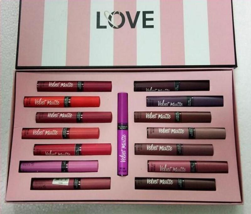 Venda quente Secret Lip Maquiagem Love Veludo Matte Creme Lip Stain Gloss Set Líquido Batom 15 Cor Long-Durando umidade Lipgloss Maquiagem Kits