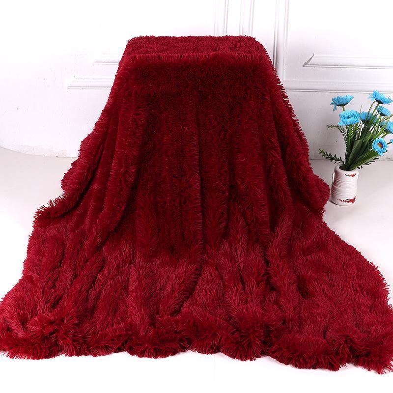 Одеяла мохнатый нечеткий меховой мех зима теплая одеяло офис пушистый отдых диван диван диван постельное белье простыня студент домашний кровати