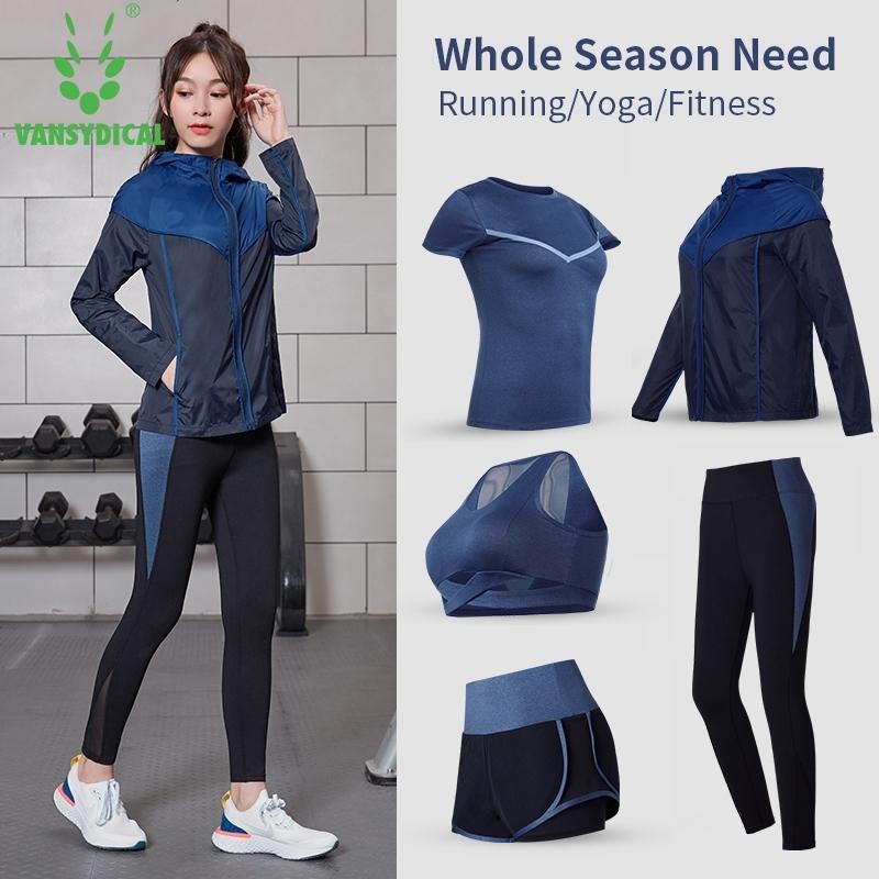 Vansydical Йога наборы Женщины быстрые сухие спортивные топы тренажерный зал одежда бегущая спортивная одежда 5шт тренировки костюм бег бегущий фитнес наборы Y200328