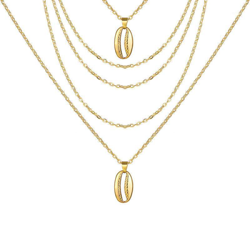 Chokers сплав раковины многослойные подвески Choker ожерелье для женщин-цепочки на цепях шеи KPOP ювелирные изделия Друзья 2021 Aestheatic XL104251