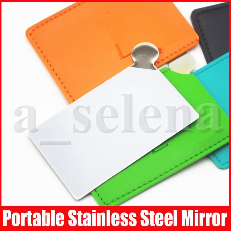 Famosa mano portatile trucco a mano specchi fondazione specchio compatto lati in acciaio inox orologio in metallo decorativo cosmetico con custodia