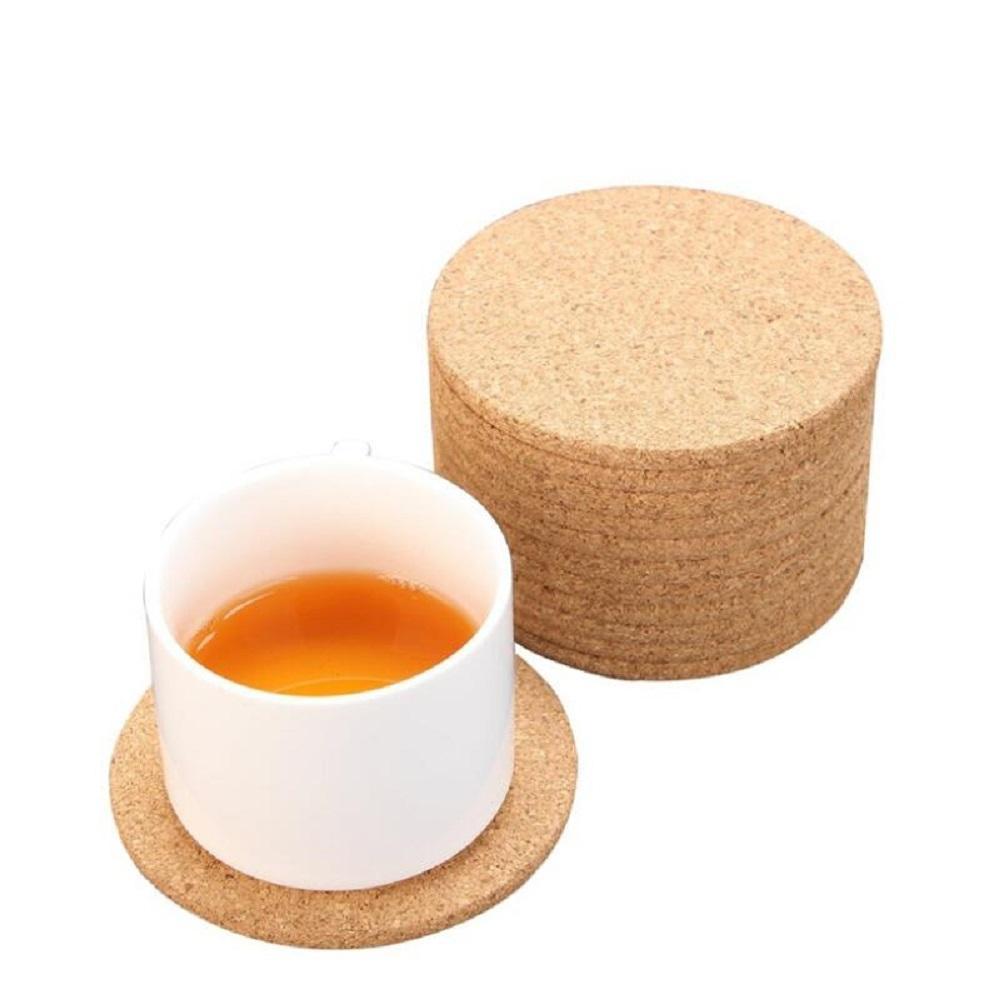 Natürliche Kaffeetasse Matte Runde Holz Hitzebeständige Kork Untersetzer Matte Tee Drink Pad Table Decor Großhandel CCD3566