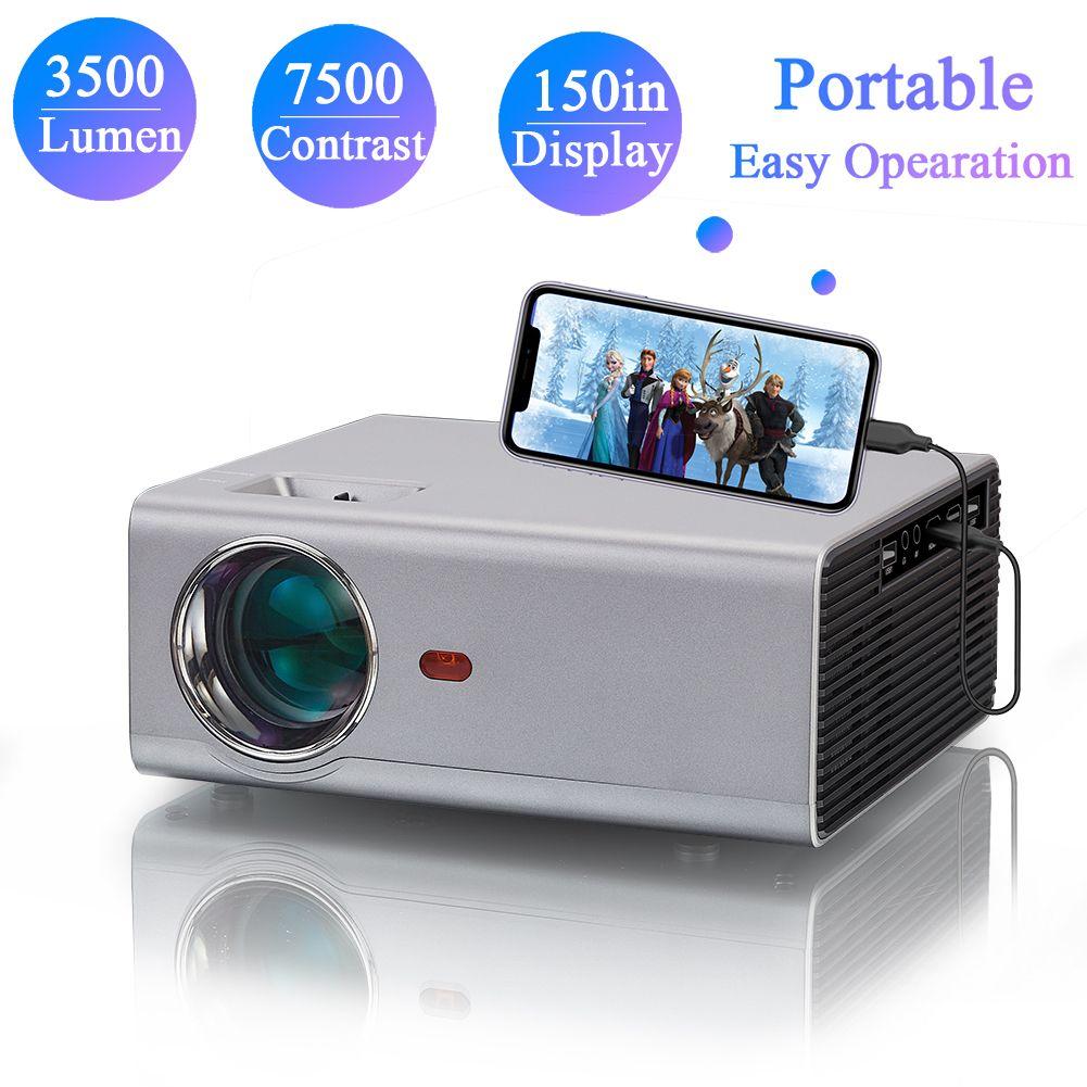 720P HD المحمولة البسيطة أدى المسرح المنزلي العارض 1080 وعاء HD فيلم التخييم الألعاب مفيد بيكو 130 بوصة عرض دعم غرفة نوم شاشة الإسقاط السقف