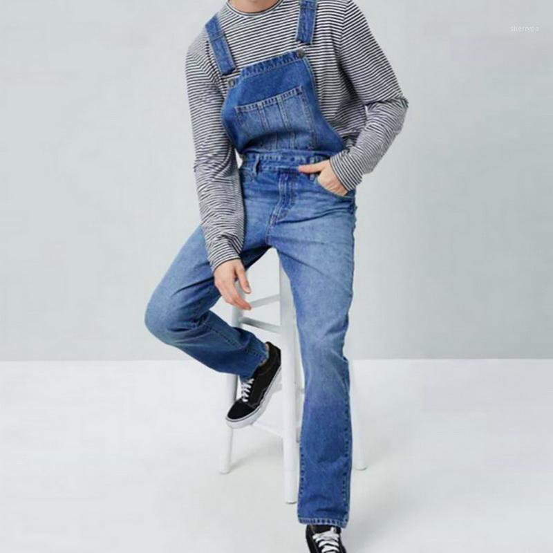 Мужские джинсовые нагрудники брюки промывают полнометражные джинсы комбинезоны хип-хоп прямые джинсовые комбинезоны для мужчин Streetwear новая мужская коммутация1