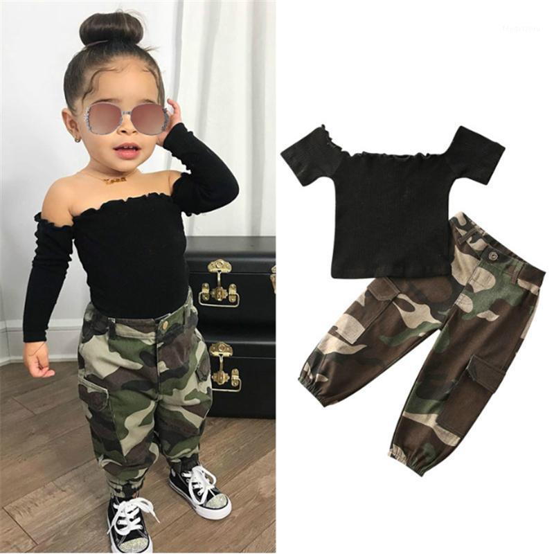 1-6y Moda Crianças Bebé Roupas Menina Roupas Preto Manga Curta Off Shirt Tops + Camuflagem Calças Outfit 2 Pcs1