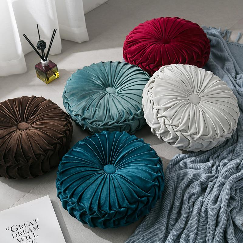 Newest Home Textile Velvet Pleated Round Solid Color Cushion Pouf Throw Home Soft Cushion Fashion Hot Pillow HHD3304