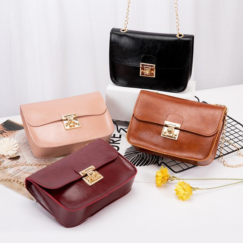 Мини-мешки PU сумки сумки солидные холст цепь плеча женщины Bolso милые покупки школа девочек сумка сумка квадрат mujer phkpr