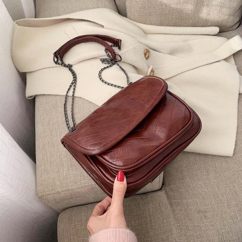 Sack für Frauen Schulter Messenger Weibliche Paket Taschen Retro Tasche Leder Crossbody Kette Frauen Tasche PU WGQJV