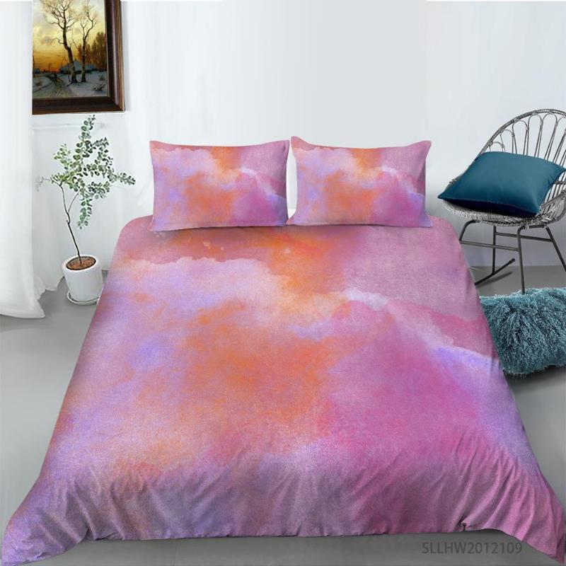 Conjuntos de ropa de cama Patrón de color de agua colorido Conjunto de camas doble suave con cubierta de edredón con funda de almohada 2 / 3pcs