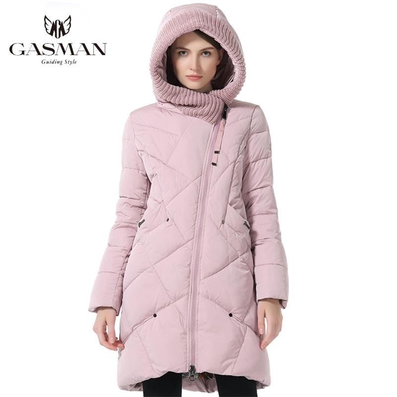 Gasman Kış Koleksiyonu Marka Moda Kalın Kadın Kış Biyo Aşağı Ceketler Kapüşonlu Kadın Parkas Coats Artı Boyutu 1702 LJ201017