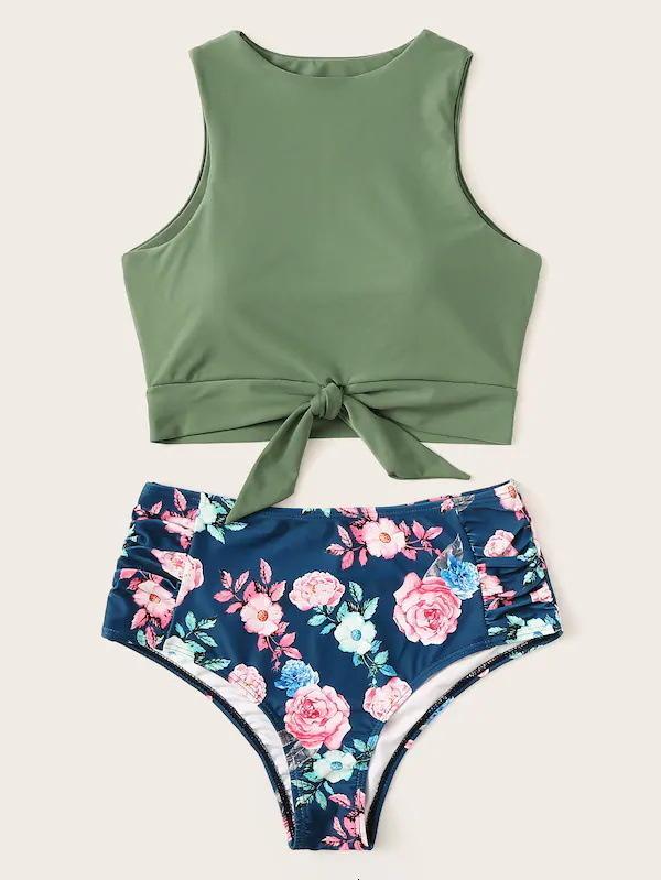 Floral Impressão Biquíni Set Swimwear Swimwear Mulheres Lace Up Duas Peças Swimsuit Sexy Girl Breaking Feitiço De Banho Alto Biquini