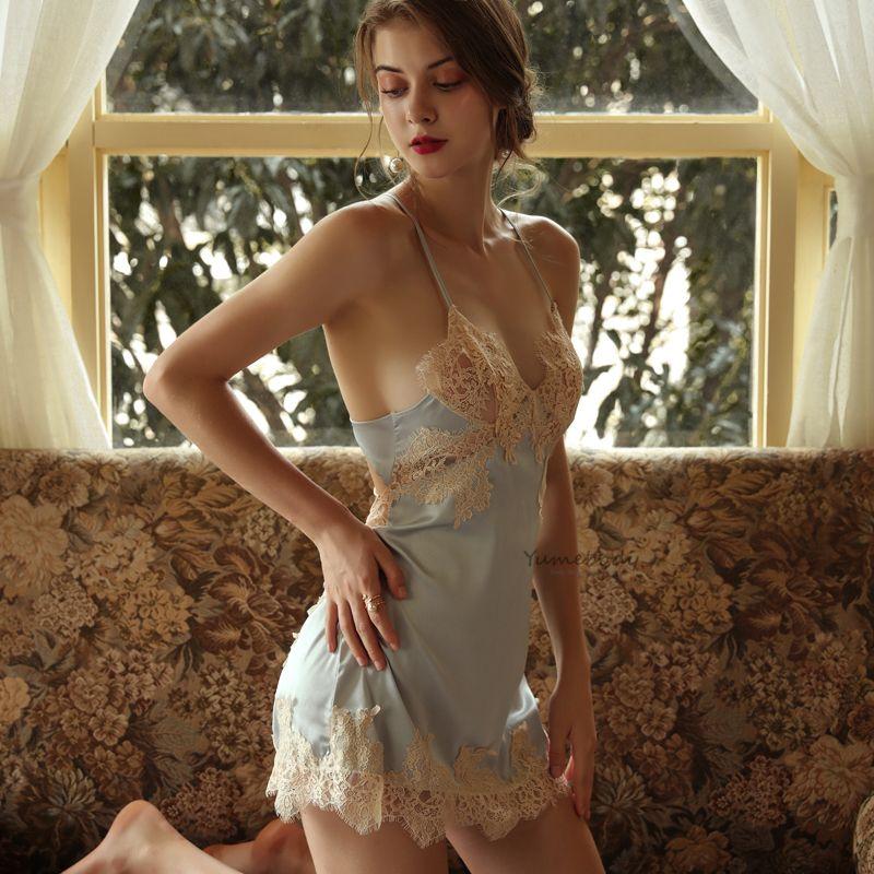 Luxo Sexy Lingerie Quente Erótico Babydoll Soft Ice Silk Deep V Suspensórios Dormir Dress Dormir Vestido Kawaii Mulheres Sleep Wear ver através