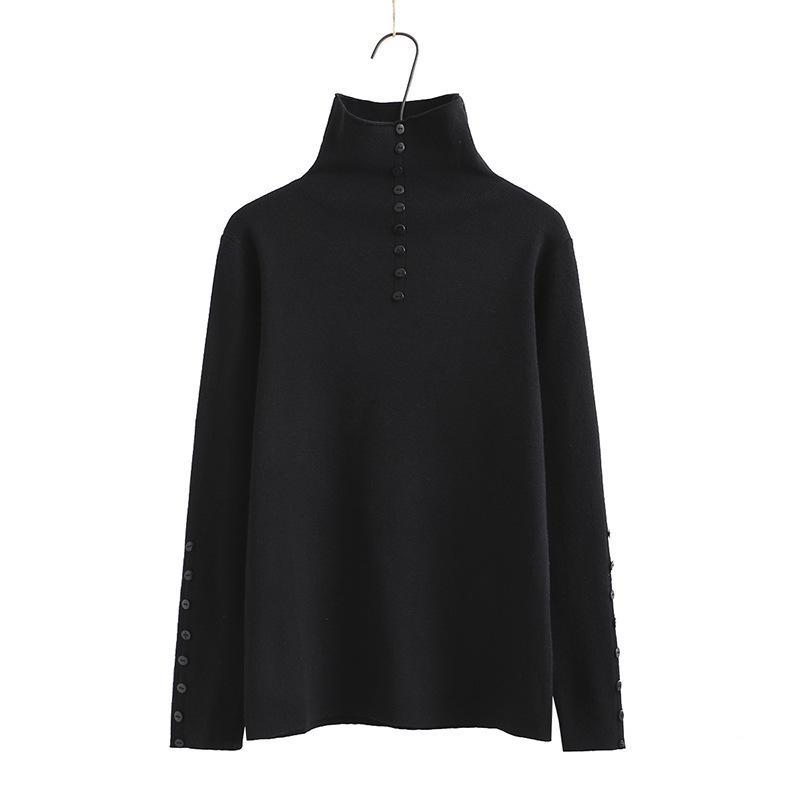 Tamanho cinzento Plus preto café L-3XL Turtleneck feminino mangas compridas Solid Vintage suéteres Outerwear 5zp4