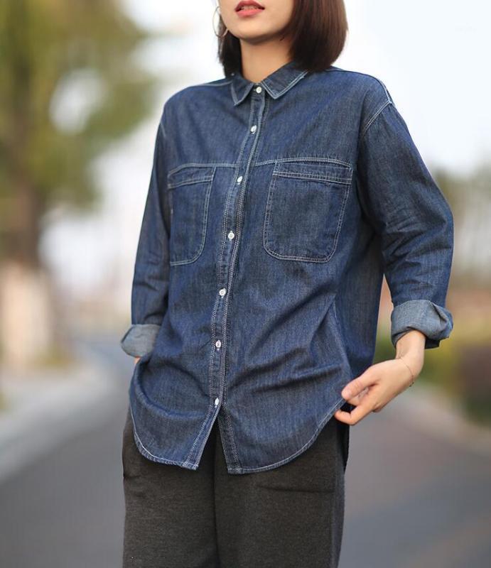 Simple elegante versátil suelto -Fit Denim Shirt adelgazamiento de manga larga mujer blusas tops manga casual1