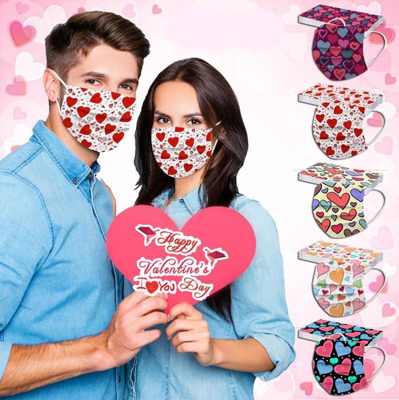 2021 Nueva máscara desechable Hombres adultos A Los amantes En forma de corazón En forma de corazón Feliz día de San Valentín Filtración Eficiencia PM2.5 Prevención Mascarillas a prueba de polvo
