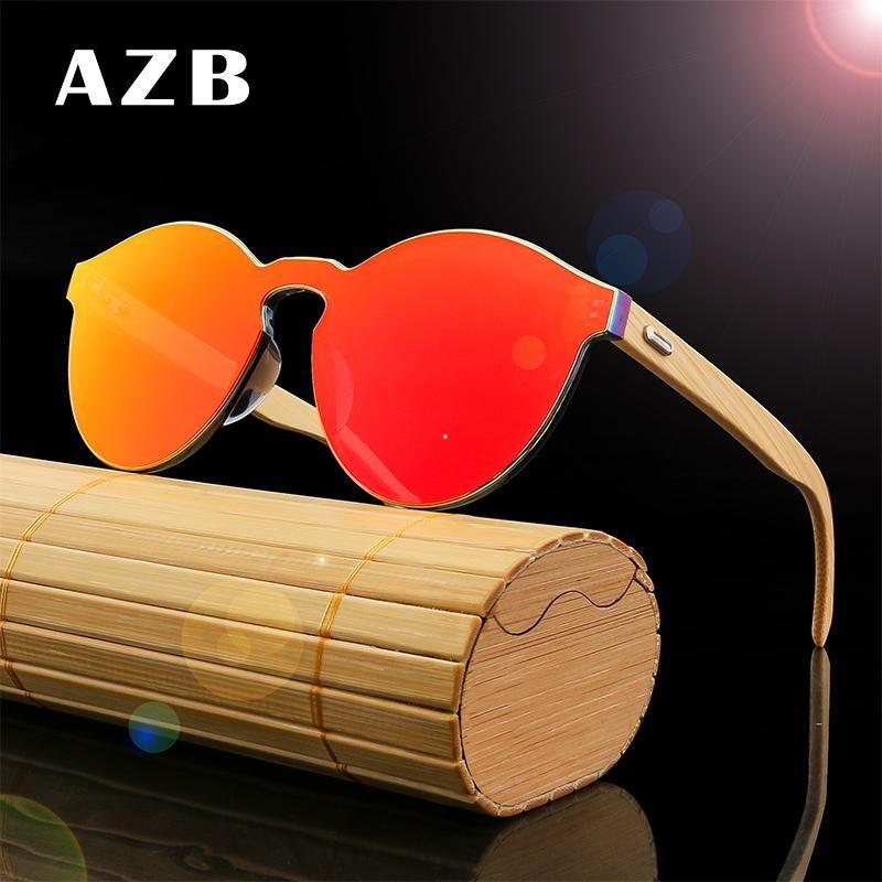 AZB 2020 Brand Sunglasses Siamoises Pour Femmes Cat En Bois Miroir Sun Lunettes De Soleil Bamboo Bois Jambes Sunglasses Hommes