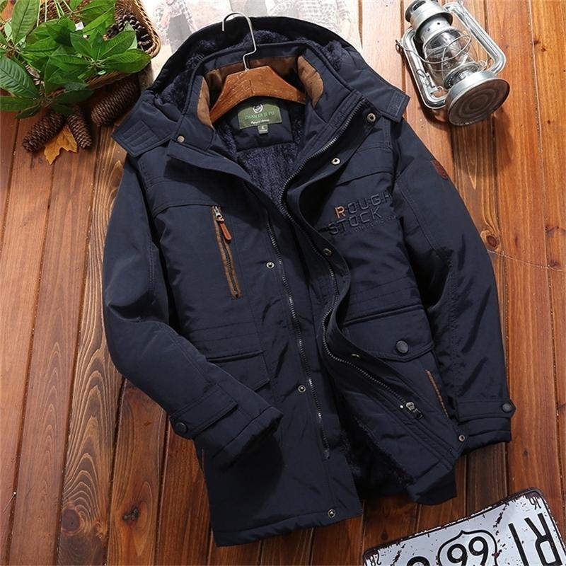 New Winter Men Jackets Letter Thick Parkas Casual Warm Hooded Coat Outdoor Military Waterproof Windbreaker Zipper Parka 201223