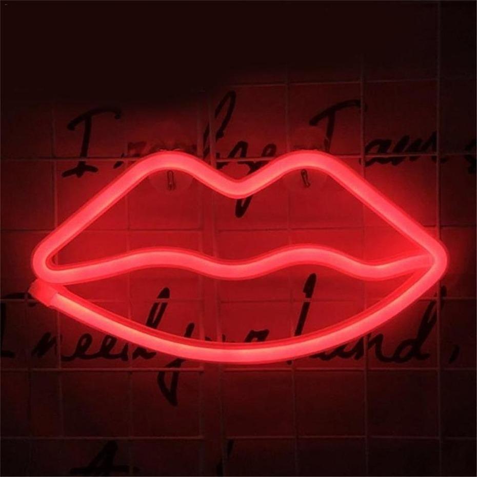 ضوء الزخرفية النيون الشفاه تسجيل الصمام أضواء الليل نوم الديكور عيد حفل زفاف منزل جدار ديكور عيد الحب هدية عيد