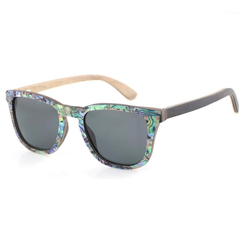 Dropshipping Polarized Abalone Shell Sunglasses Femmes Cadre Square Cadre Jantes Vene en bois Logo Lunettes de soleil sur mesure avec bras en bois1
