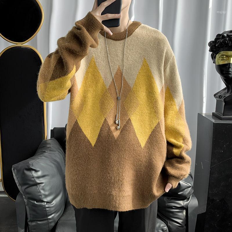 Automne hiver Payseur à carreaux de chaleur pour hommes Fashion rétro décontracté pull tricoté Hommes lâche coréennes de tricot coréen vêtements hommes1
