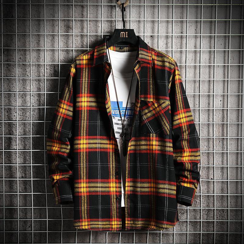 Nuovo Arrivo Plaid Mens Moda Manica lunga Camicia Casual Maschio Arajuku Streetwear Shirt Slim Fit Giacca a righe Camicie Plus Size