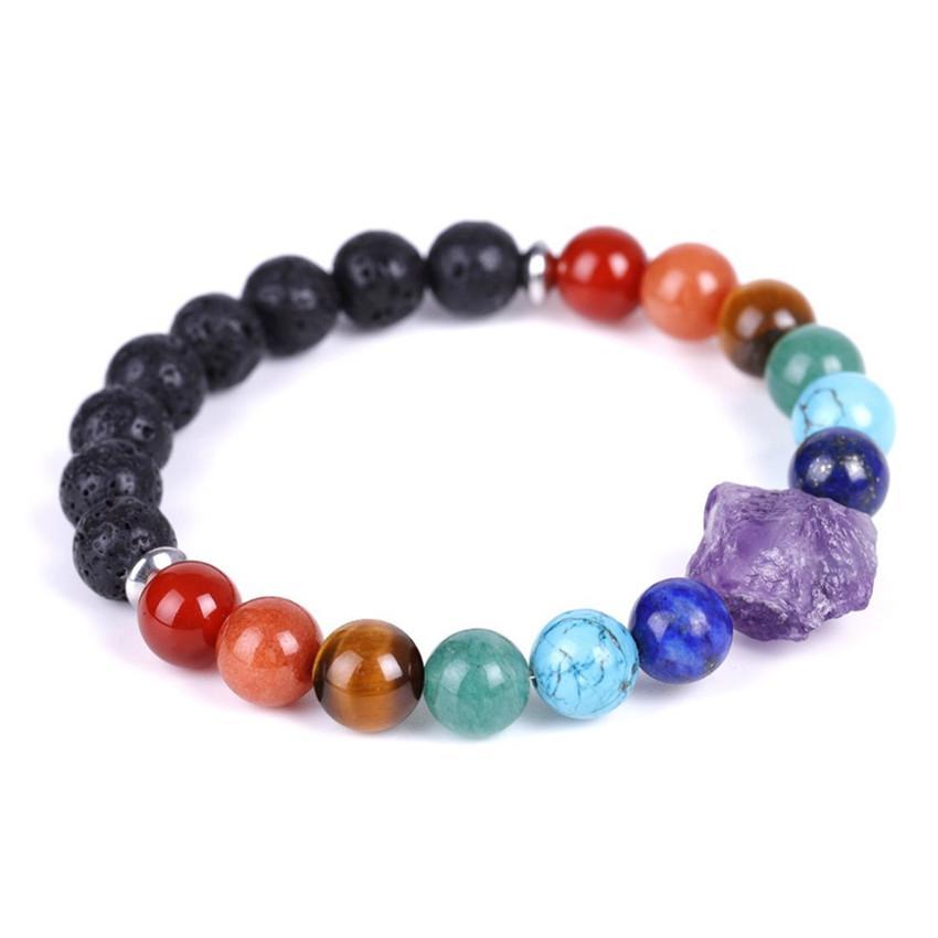 Vente en gros 10 pcs en plaqué argent en forme irrégulière améthyste connecter beaucoup de couleurs de perles de pierre de quartz bracelet cicatrisant chakra bijoux