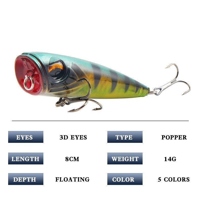 8cm 14g Appâts artificiels Pêche de pêche en plastique Top Water Popper Leur de pêche Wobbler Cranhankbait Pêche Baits