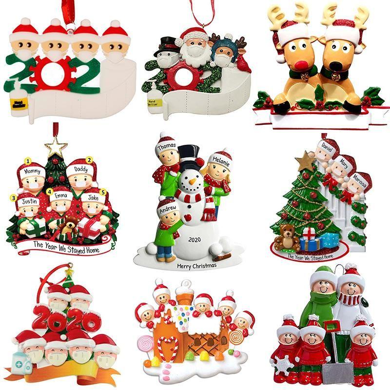 New Christmas Personalized Ornaments Survivor Quarantine Family 2 3 4 5 6 Mask Snowman Hand Sanitized Xmas Decorating Creative Pendant Toys