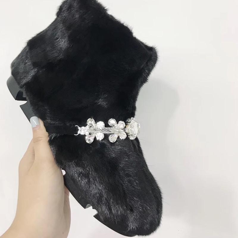 Горячие продажи - черные коричневые женщины зимние ботинки кристалл пушистые пеночки женские женские снежные ботинки мода квартиры резиновые ботины Mujer 2020