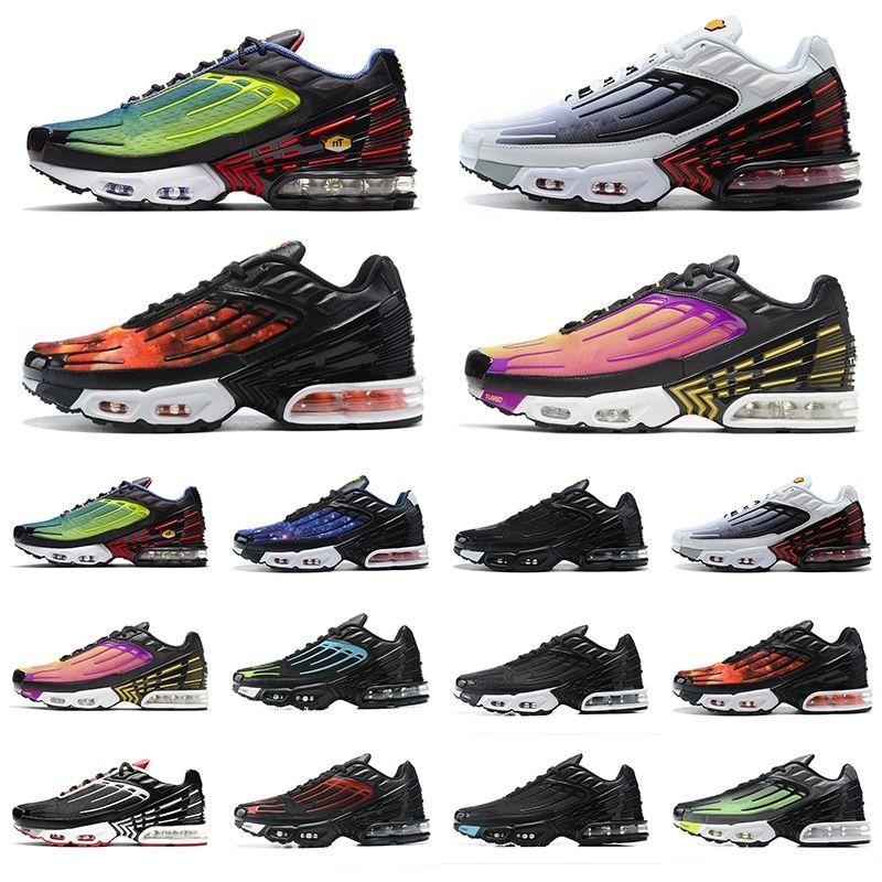 جديد tn بلس 3 أحذية رياضية ثلاثية أبيض أسود كامو التدرج حزمة TNS رجل إمرأة المدربين في الهواء الطلق الرياضة رياضة المشي الركض 36-45