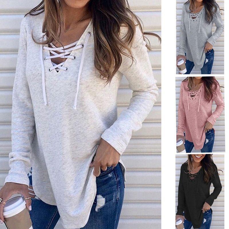 7colour S-3XL 여성 패션 캐주얼 가을 / 겨울 여성 의류 새로운 솔리드 컬러 V 넥 넥타이 느슨한 탑 티셔츠 20600972136051