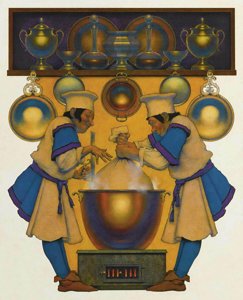 Maxfield Parrish Two Cooks Home Decor Handcrafts /HD Print Oil Painting On Canvas Wall Art Canvas Pictures 7708