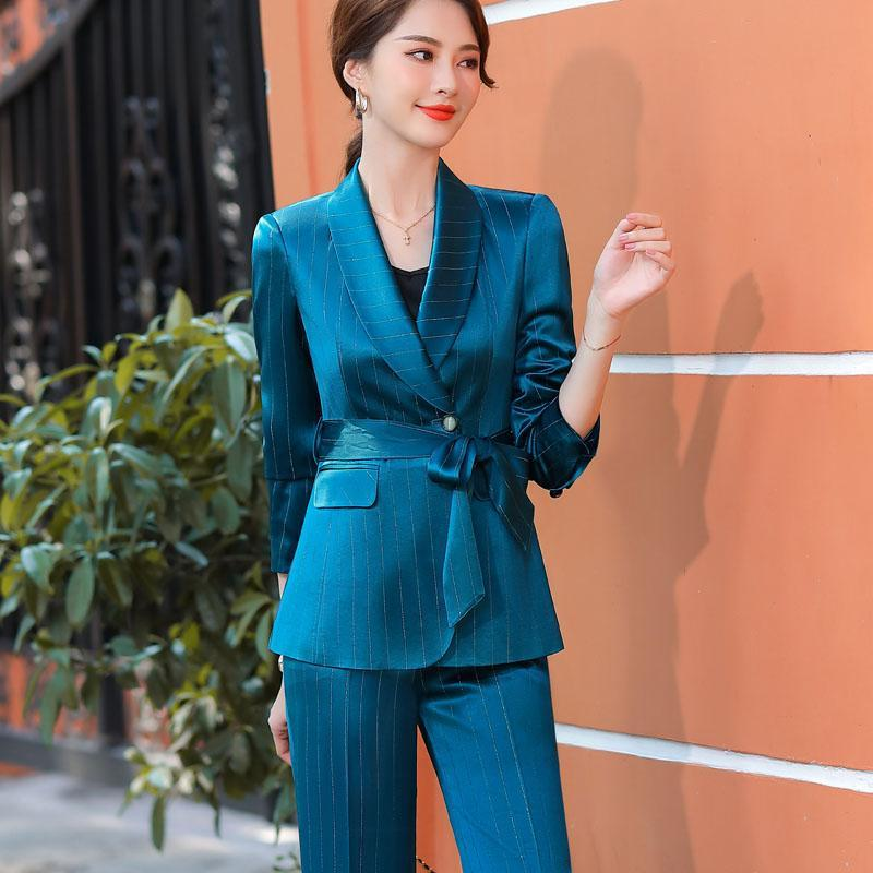Novelty Blue Women Business Suits with Jackets Coat and Pants Formal Uniform Designs Pantsuits Autumn Winter Ladies Blazers