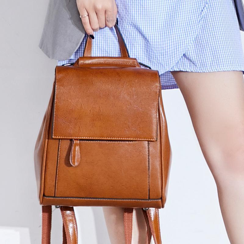 Высокое качество Натуральная кожа Rucksack School Daypack Cross Body Body Buash Travel Knaxackack Женщины Воск Воск Воск Восточный рюкзак