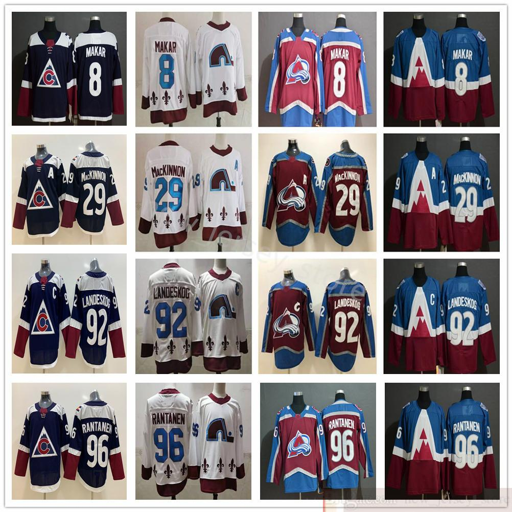 2021 Nuevo Retro Retro Colorado Avalanche Hockey sobre hielo 8 Cale Makar Jerseys 29 Nathan Mackinnon 92 Gabriel Landeskog 96 Mikko Rantanen Jerseys