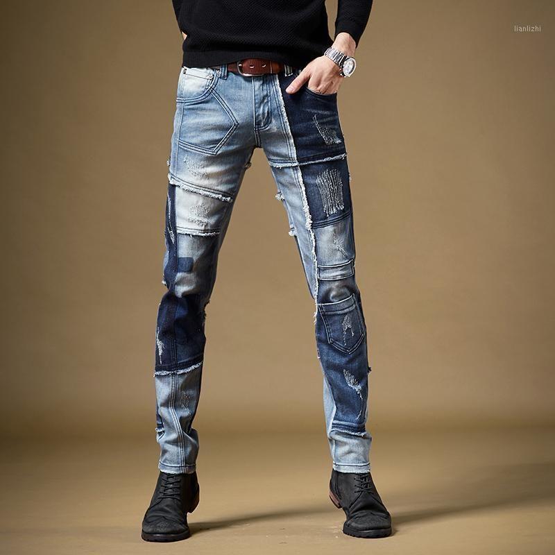 Mode patchwork jeans stretch stretch bleu denims pantalons de streetwear rétro pantalons1