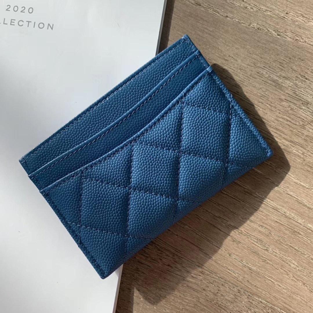 Titular de cartão de crédito Homens Mulheres Cartões de Cartão Azul Lambskin Mini Carteiras Genuíno Couro Moeda Bolsa De Bolso Interior Slot Bolso Famu!