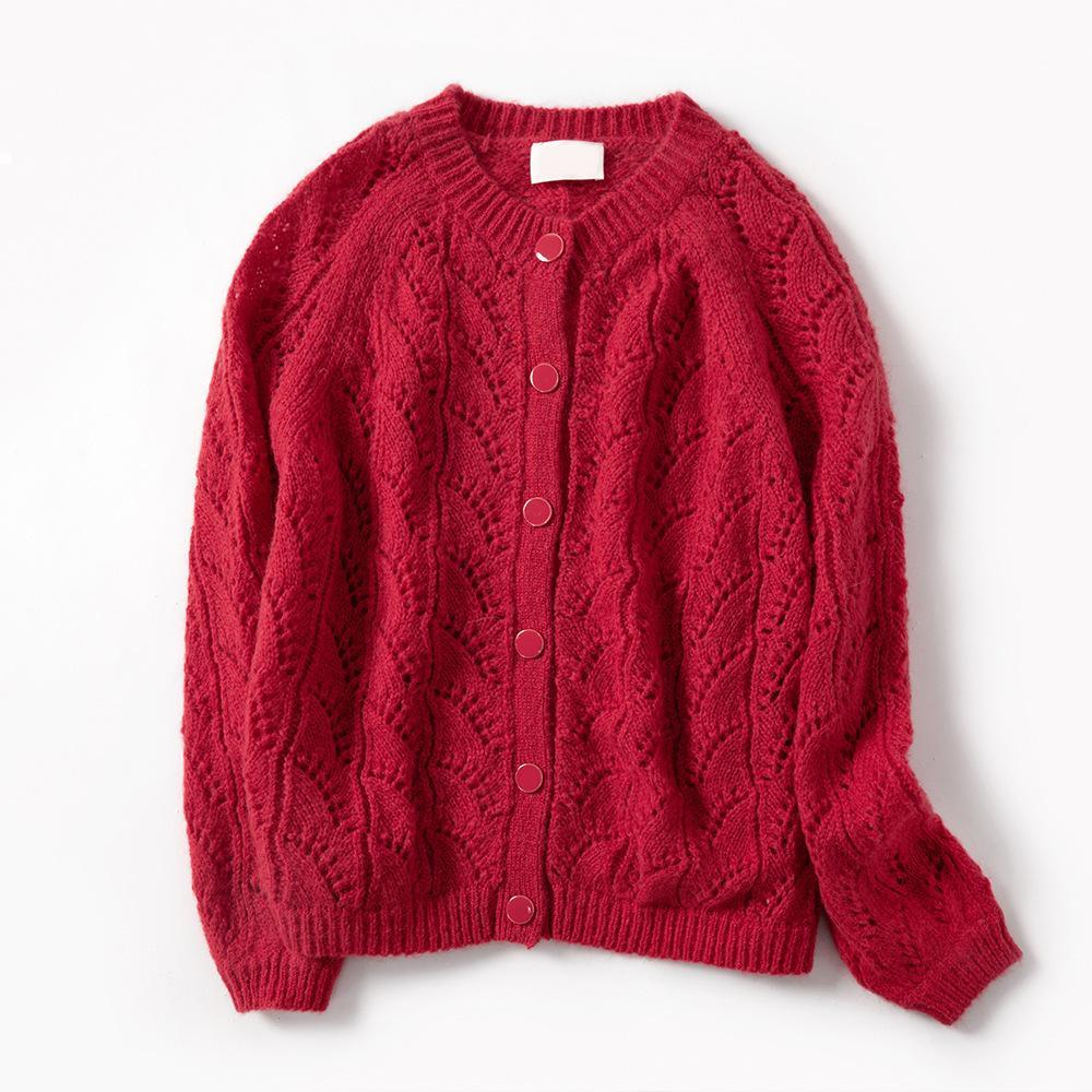 New Mohair 2021 шерстяные женщины вязаные кардихан свитер ранний осенний роскошный дизайнер женщина винтажная одежда Gkge