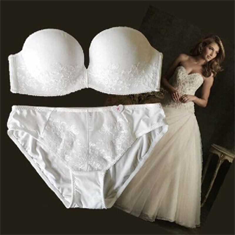 Вышивка нажимается без плеч ленты, устойчивый к скользянию сексуальное формальное платье бюстгальтер установлен свадьба регулируемый Y200422