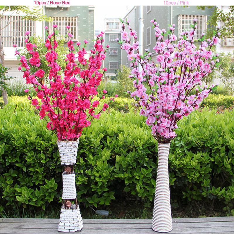2019 NEW 인공 벚꽃 봄 매화 복숭아 꽃 지점 실크 꽃 나무 장식