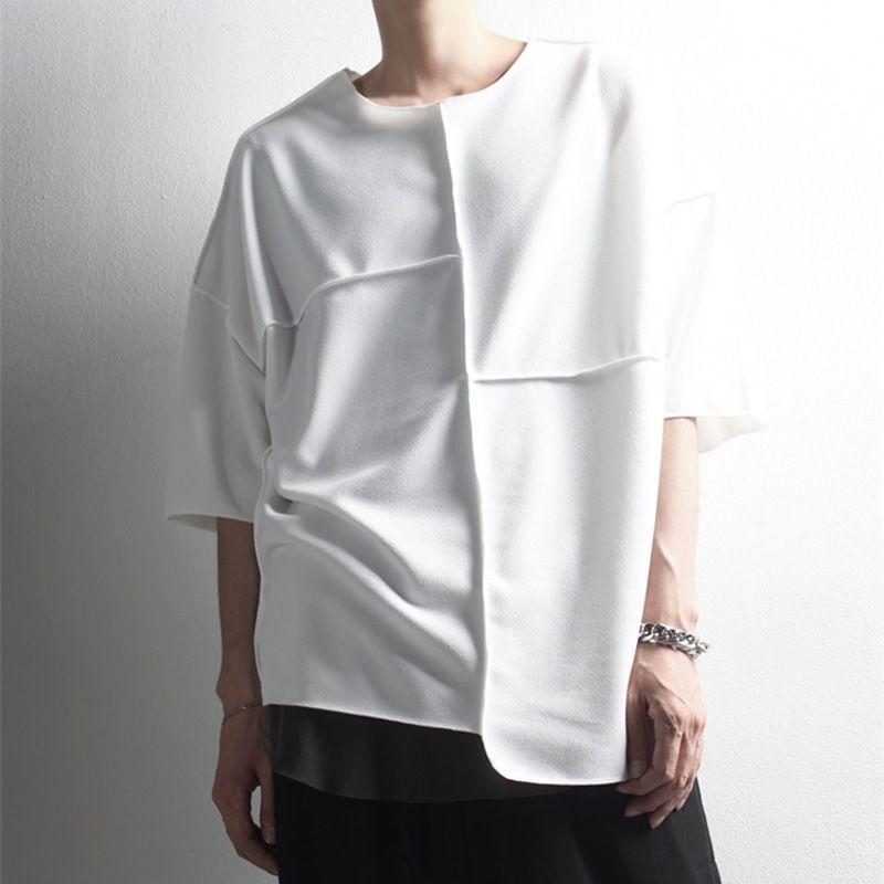Sommer Kurzarm T-Shirt Trendige Männer Koreanische Mode Spleißen Dünne Lose Rundhalsausschnitt Halbhülse T Batshirt Nachtclub Stylist