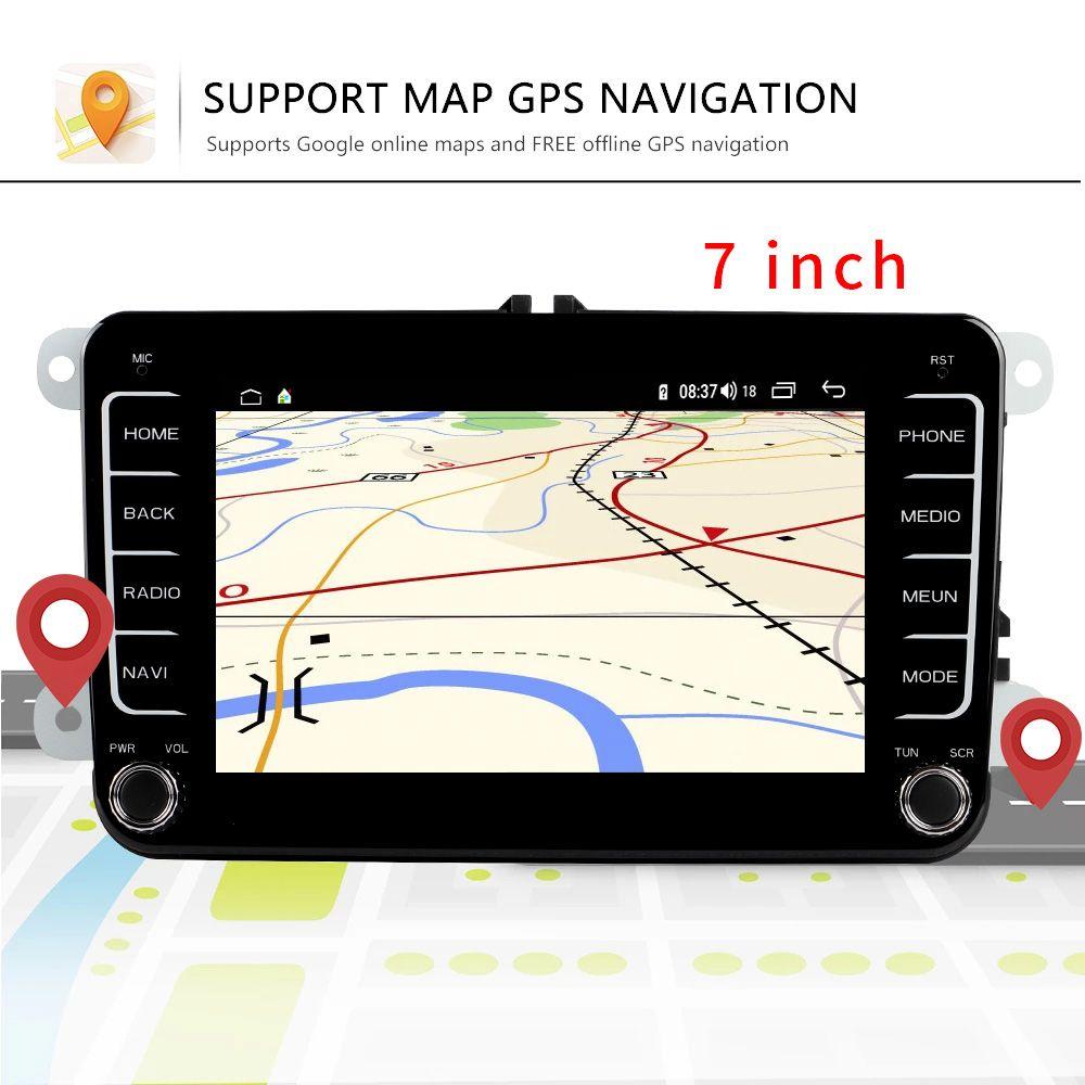 7 pollici Android Car Multimedia Player 2 DIN WiFi Navigazione GPS Autoradio per Skoda VW Passat B6 Polo Golf 5 Seat Touran FM