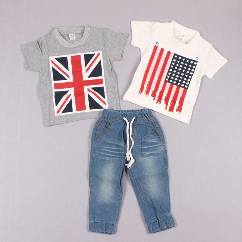 Clearance sale Kids Suit Outfits Baby Clothing Three-Piece Short Sleeve T Shirt Summer T Shirt Jeans Boys Clothes Child Suit boys suits Z107