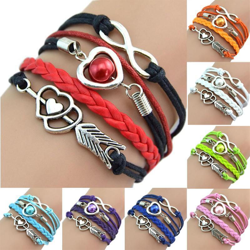 Infinity Fashion Leather Handcuffs Love Heart Pearl An Arrow Charm Pink Friendship Antiguo Braid Brazy Bracelet